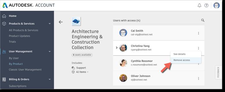 Autodesk Account remove access menu
