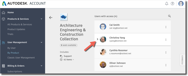Autodesk Account remove user access to services by product