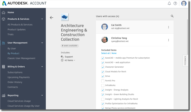 Select which services a user can access in Autodesk Account