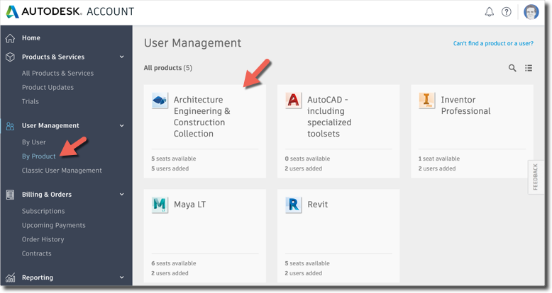 Autodesk Account user management by product