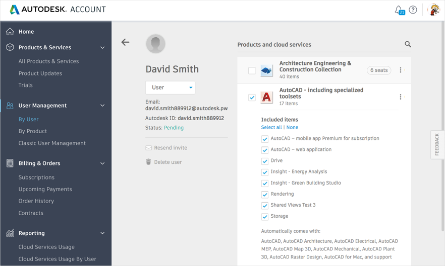 Assign products in Autodesk Account user management