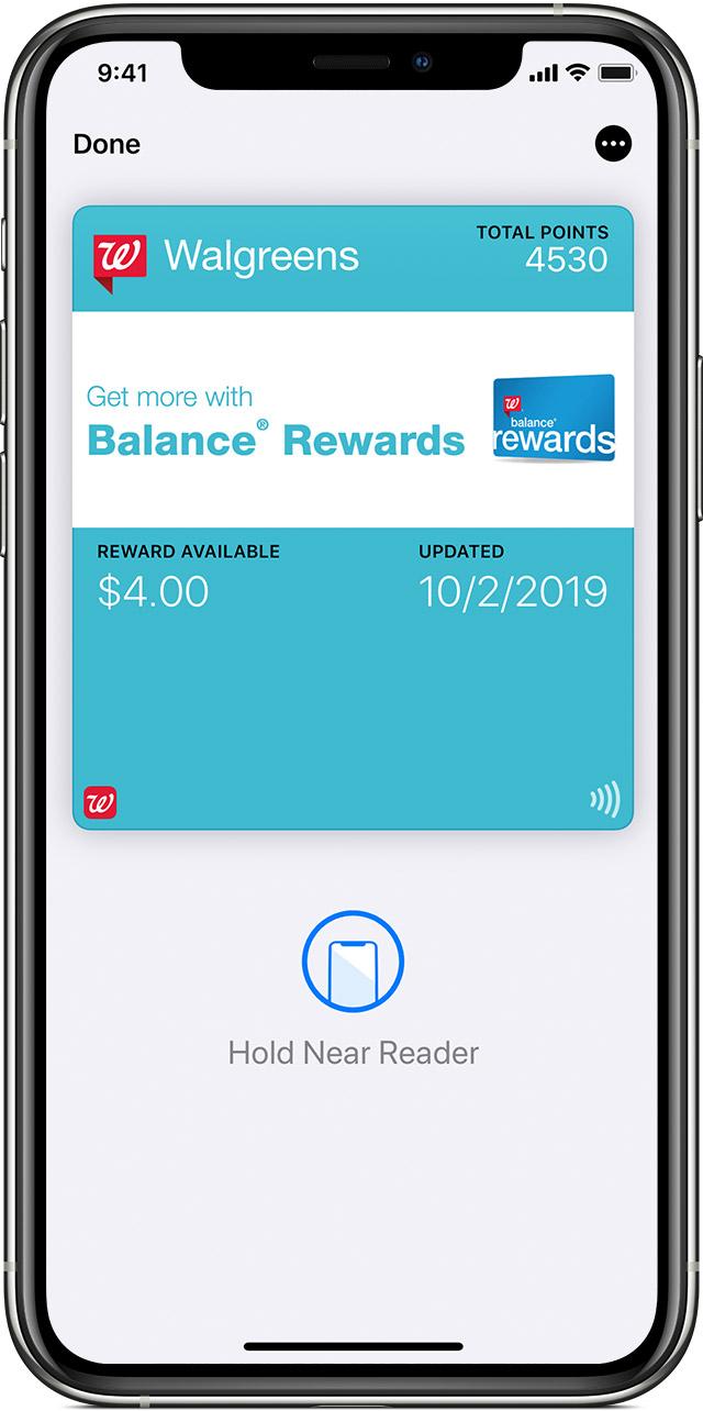Wallet app rewards card view