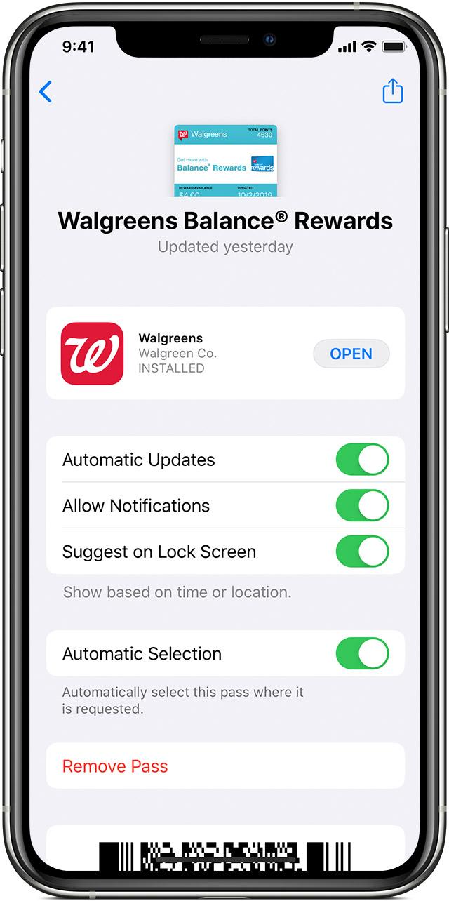 Change pass setting screen in Wallet app