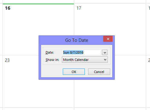 Go to date in outlook