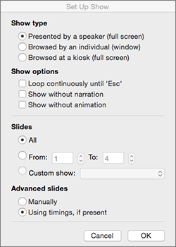 Set the show type and other options before you distribute the show