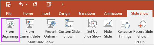 "Shows the ""from beginning"" button on the slide show tab in PowerPoint"