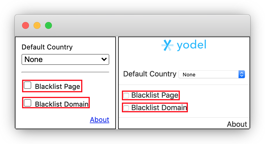 Blacklist Sites for Yodel Extension