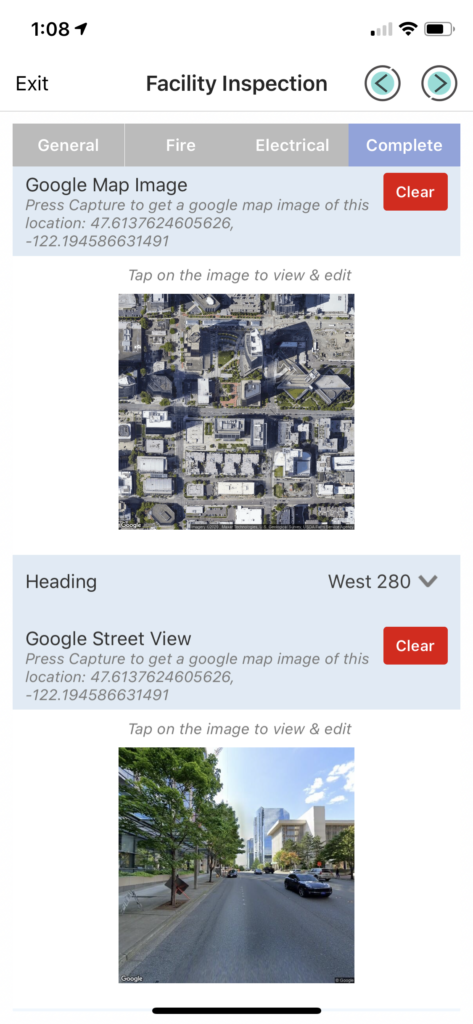 Forms On Fire - Facility Inspection with Google Maps Image API