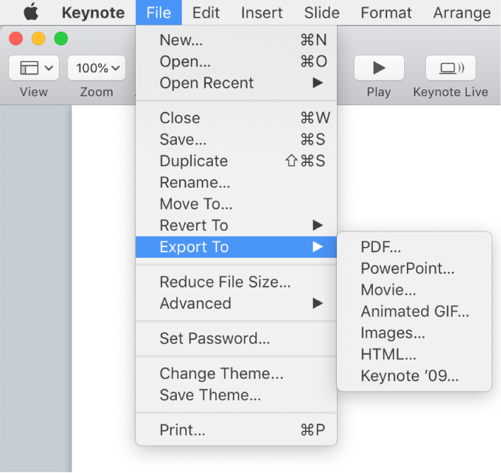The File menu open with Export To selected and its submenu showing export options for PDF, PowerPoint, Movie, HTML, Images, and Keynote '09.