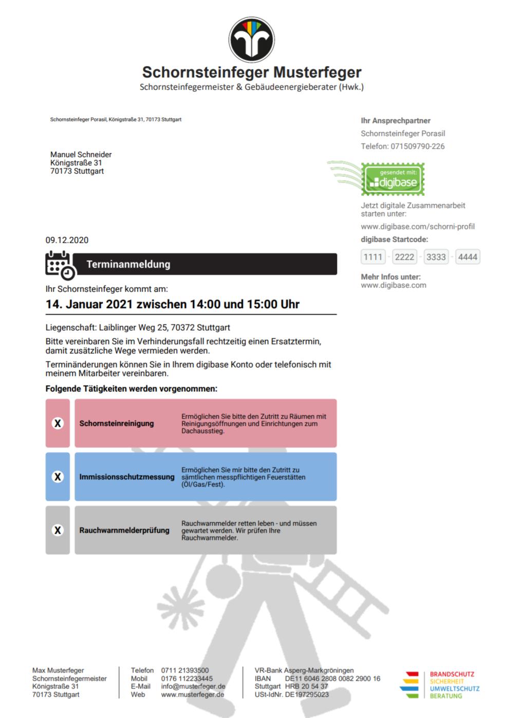 Schornsteinfeger Terminanmeldung digibase (postalisch)