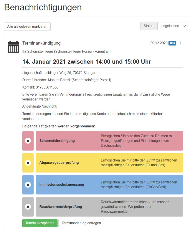 Schornsteinfeger Terminanmeldung digibase (digital)