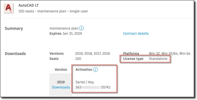 Image of Autodesk Account showing product with serial number activation on a single-user license.