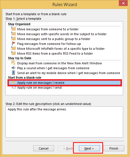 """The """"Apply rule on message I receive"""" option and Next button."""