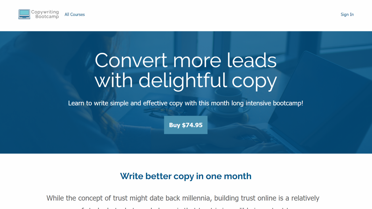 A Thinkific course landing page reading Convert more leads with delightful copy