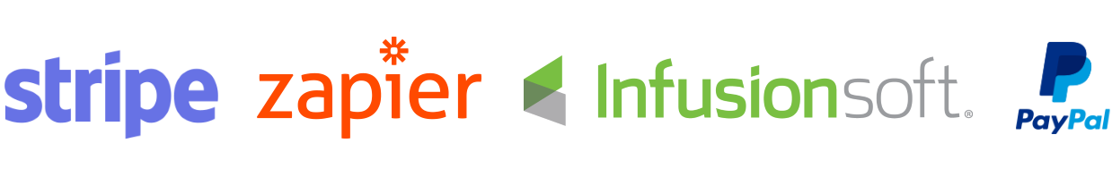 Company logos for Stripe, Zapier, Infusionsoft, and PayPal