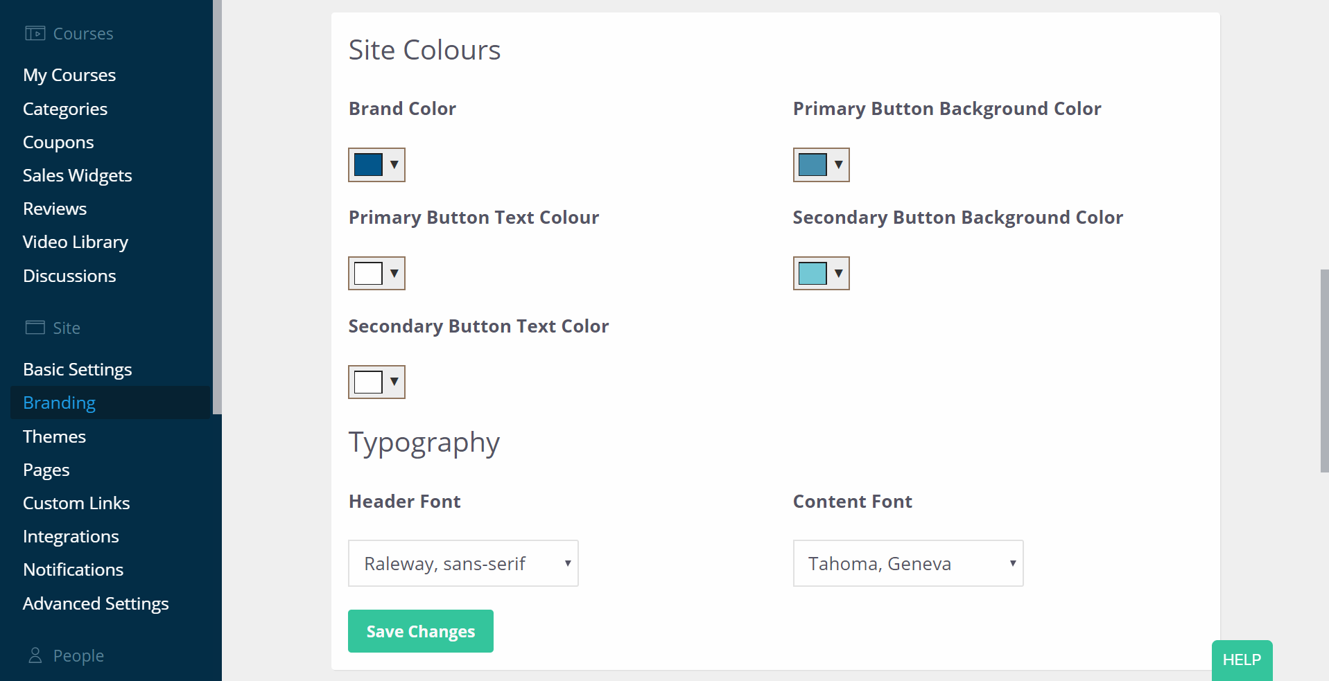 The branding tab of the Thinkific admin dashboard open to show the branding color options