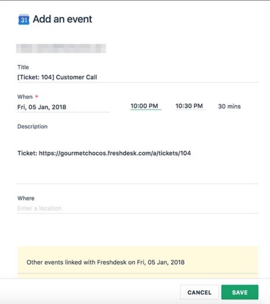 Integration with Google Calendar : Freshdesk