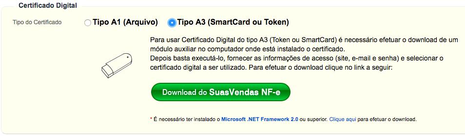 Configuração de certificado A3 do NFC-e do SuasVendas