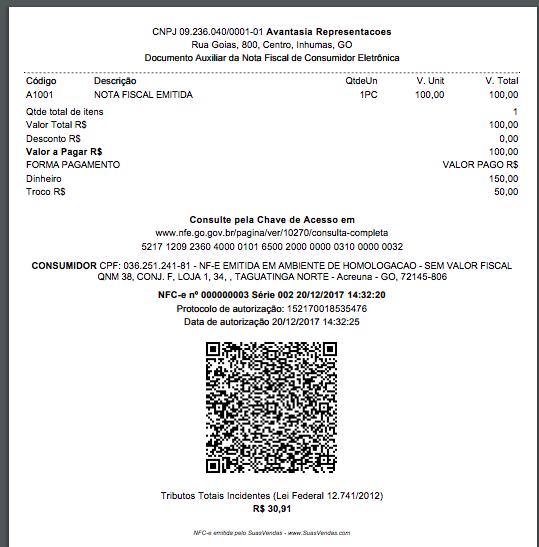 NFC-e pronta para impressão, gerada no SuasVendas