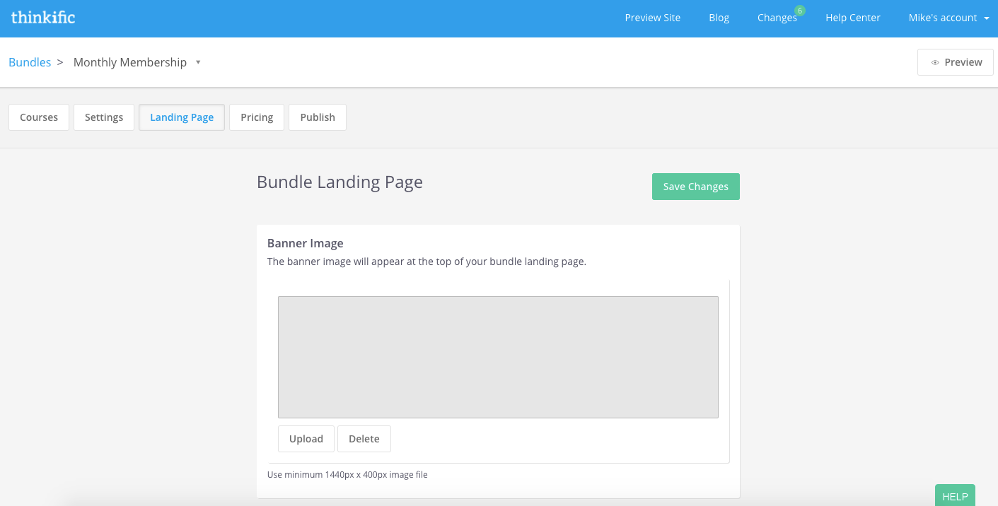 The Landing Page tab of the bundle builder