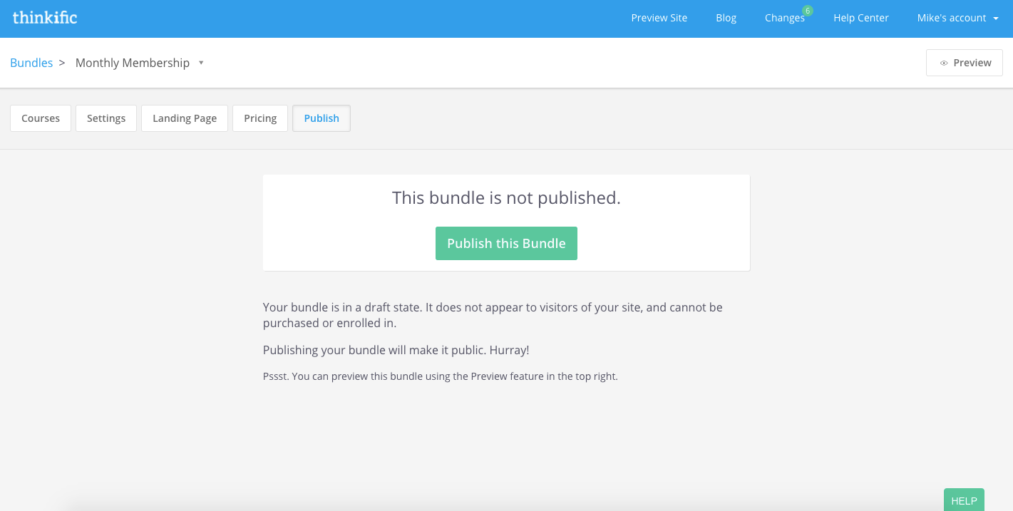 The Publish tab of the bundle builder