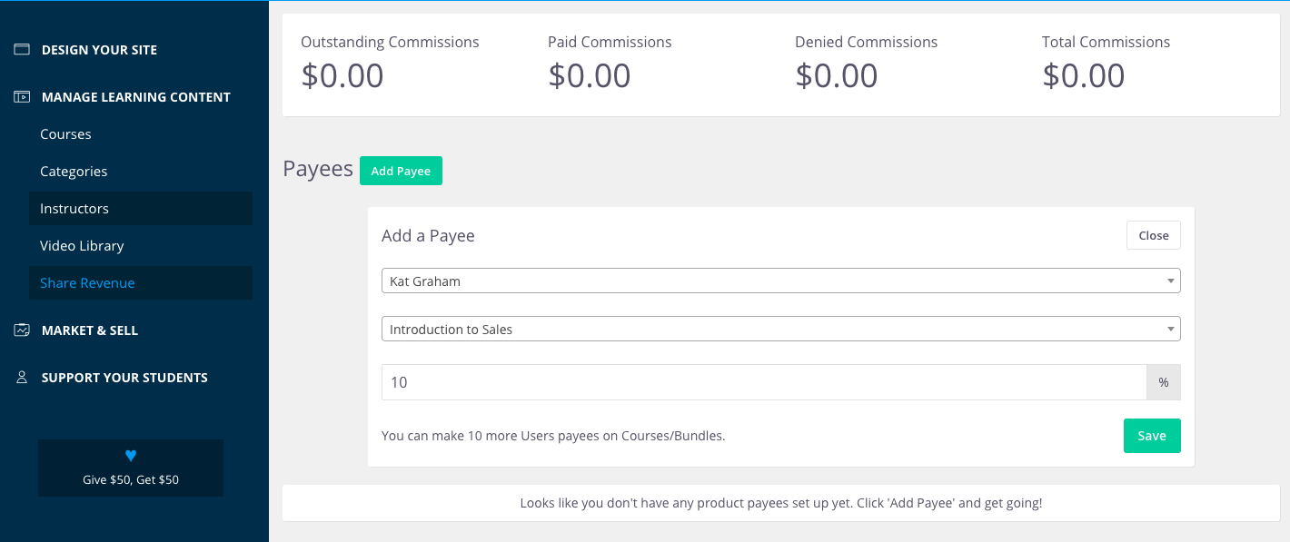Add a product payee