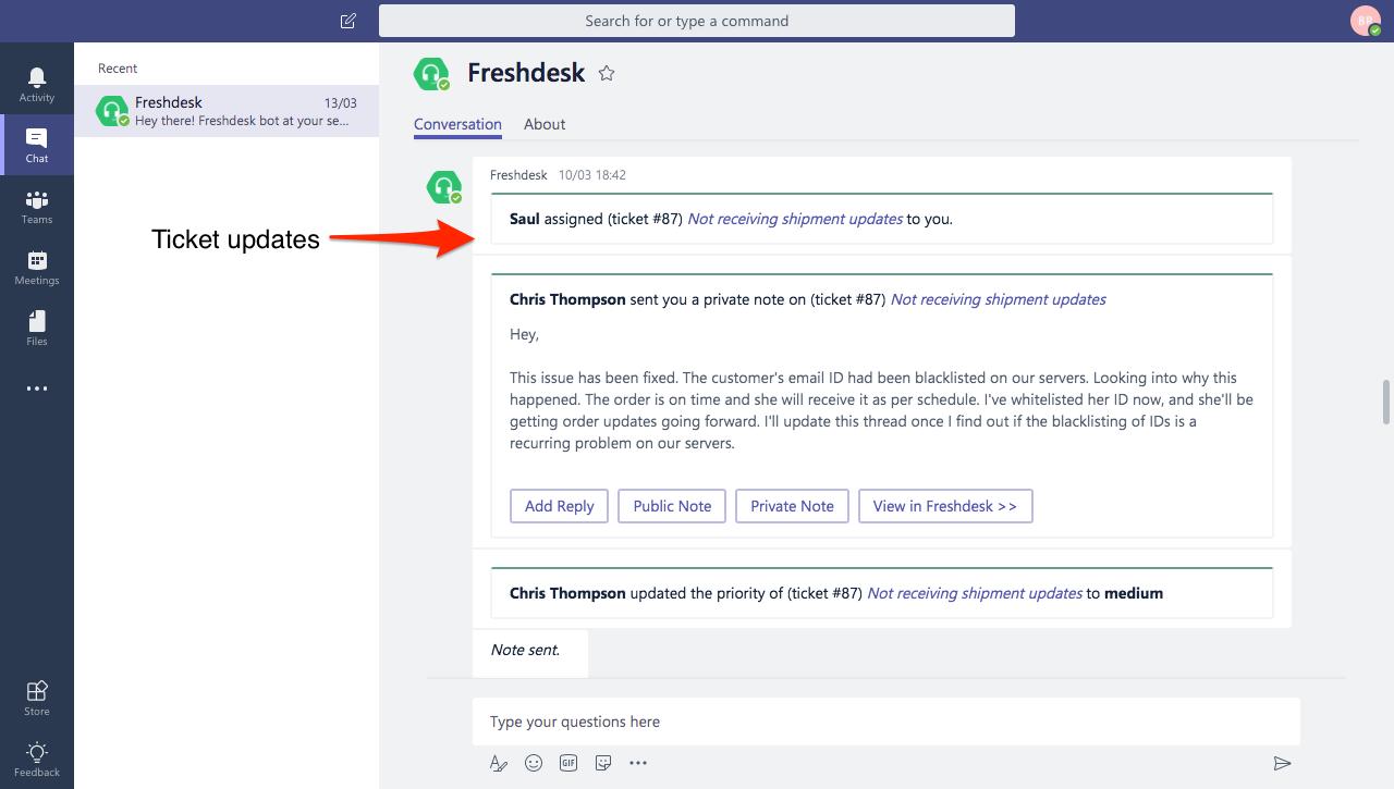 The Microsoft Teams App : Freshdesk