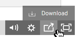 On the video player, select the share button and click download