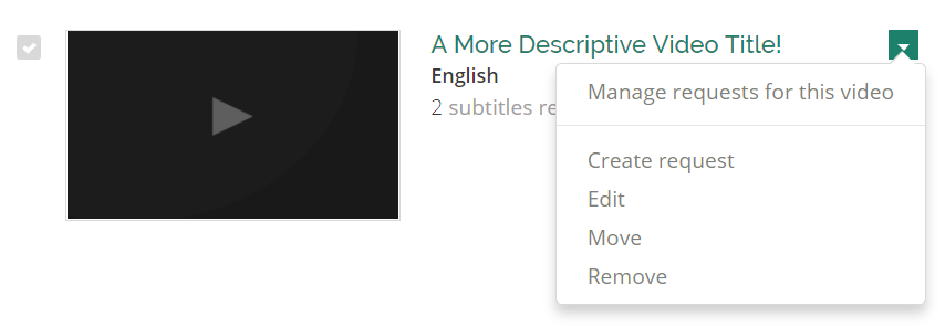Context menu for a video entry on the Videos Management tab