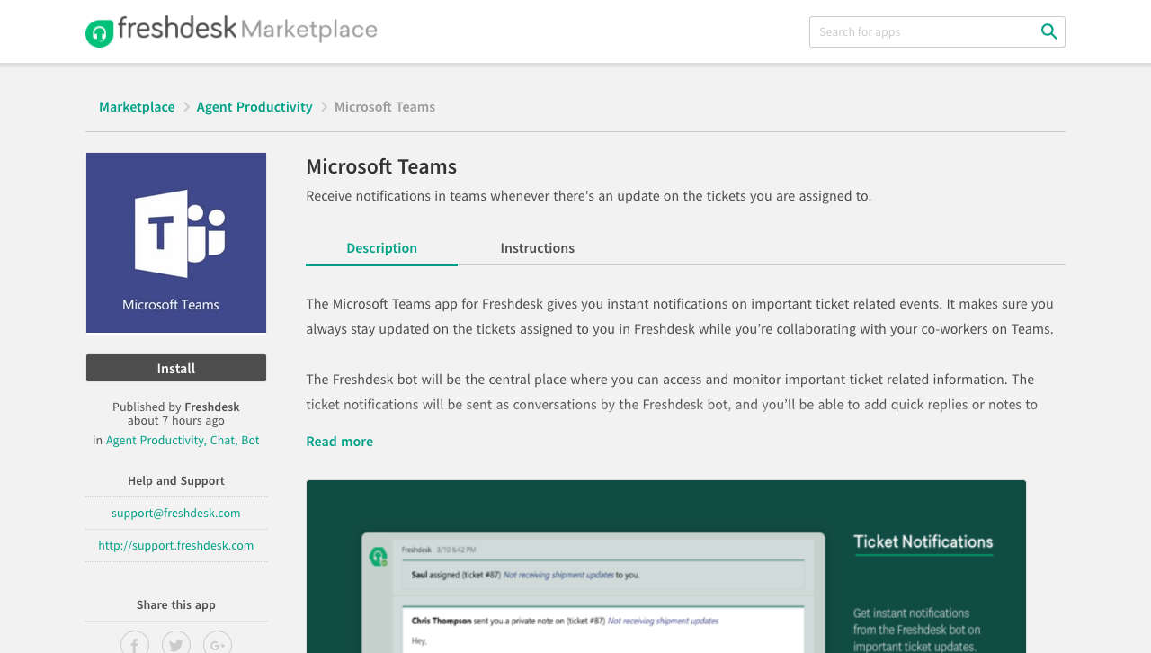 The Microsoft Teams App : Freshdesk