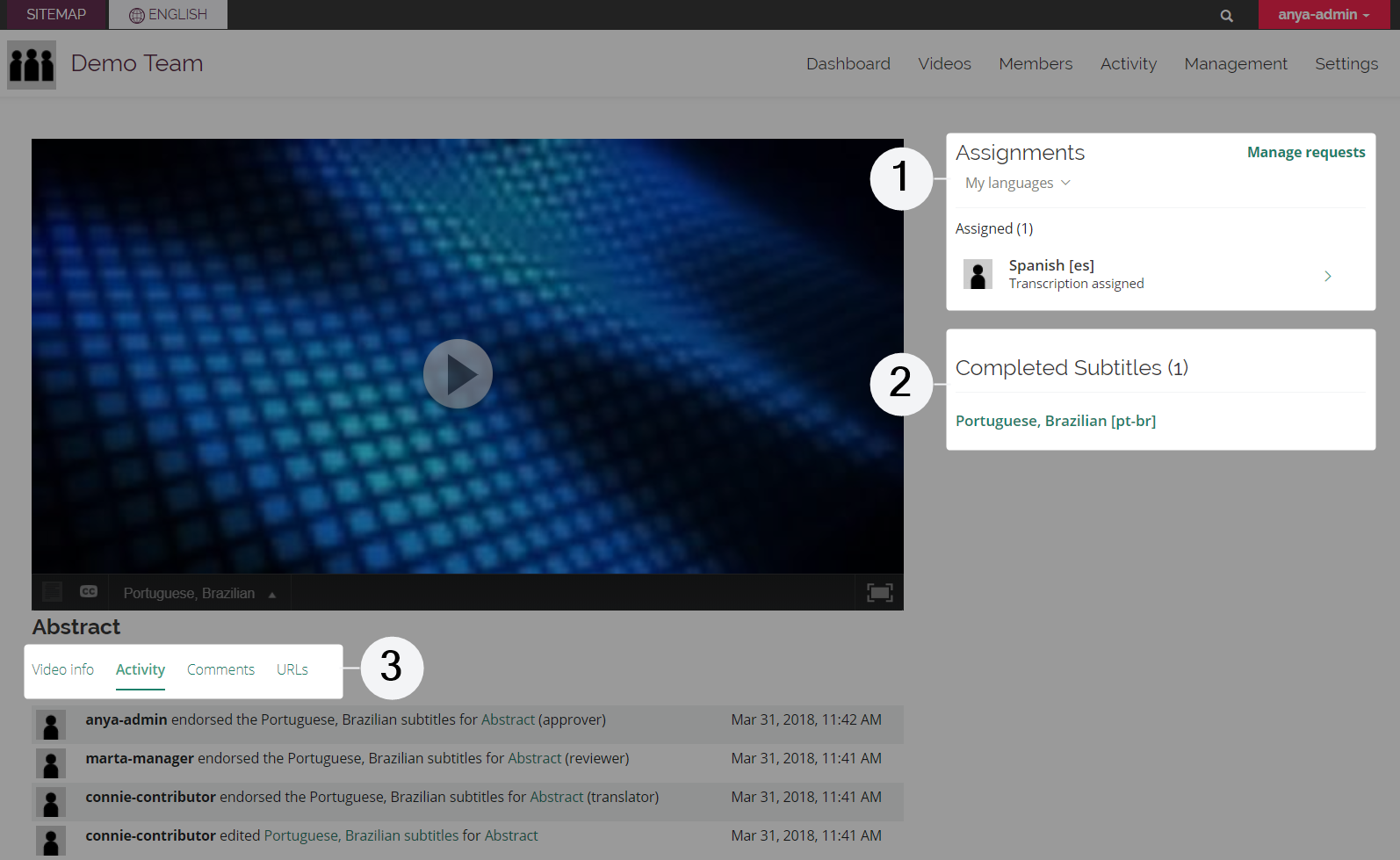 Video details page viewed by administrator of a collaboration team with three areas highlighted