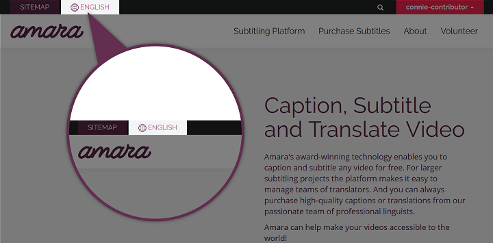 Detail screenshot of Amara language button