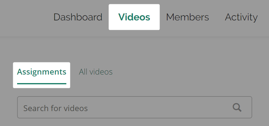 Detail screenshot of tabs user must click to get to Video Assignments page