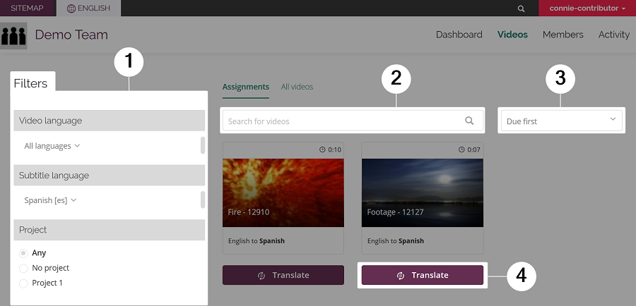 Screenshot of Videos tab with four areas highlighted: filters, search bar, sort order menu, and assignment action item