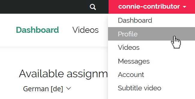 Detail screenshot of user dropdownmenu with Profile option highlighted