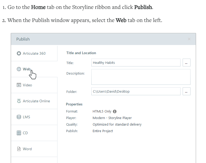 Articulate360 publish to the web instructions