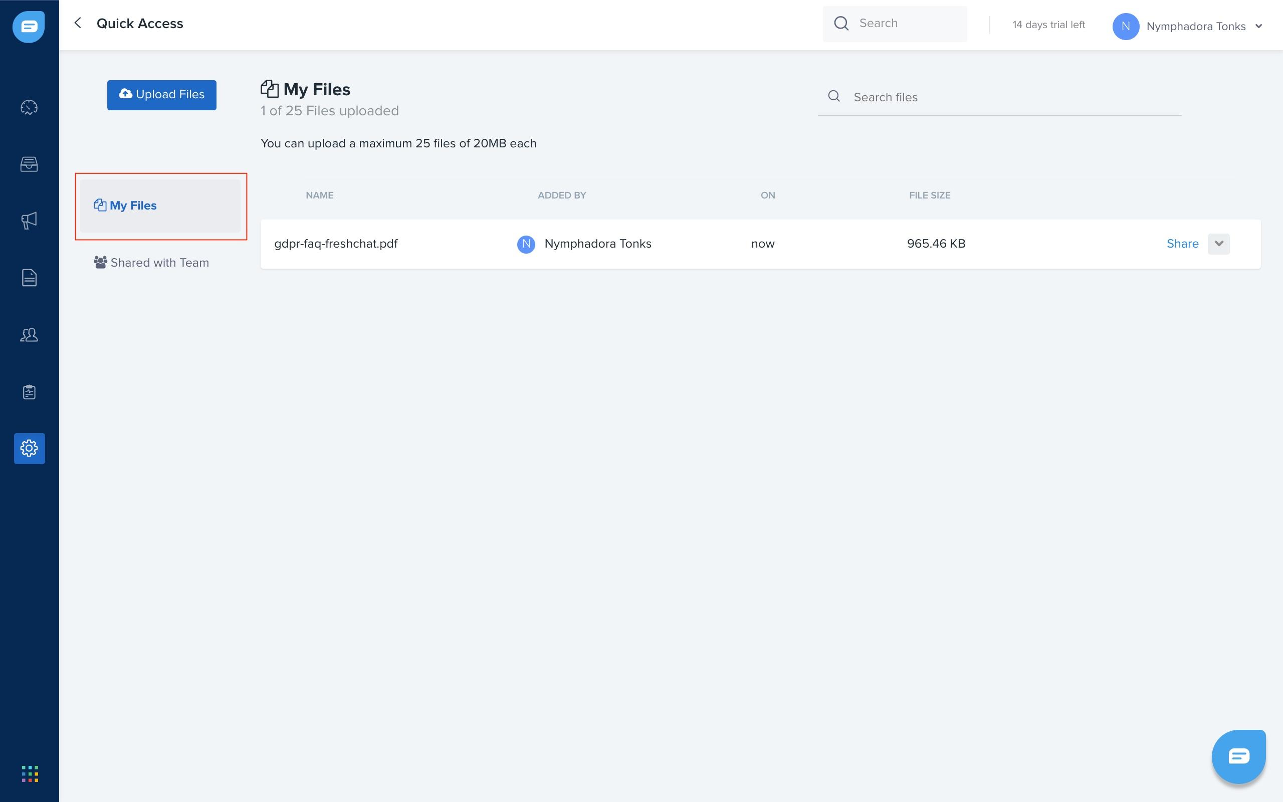 Uploading and Sharing Files : Freshchat