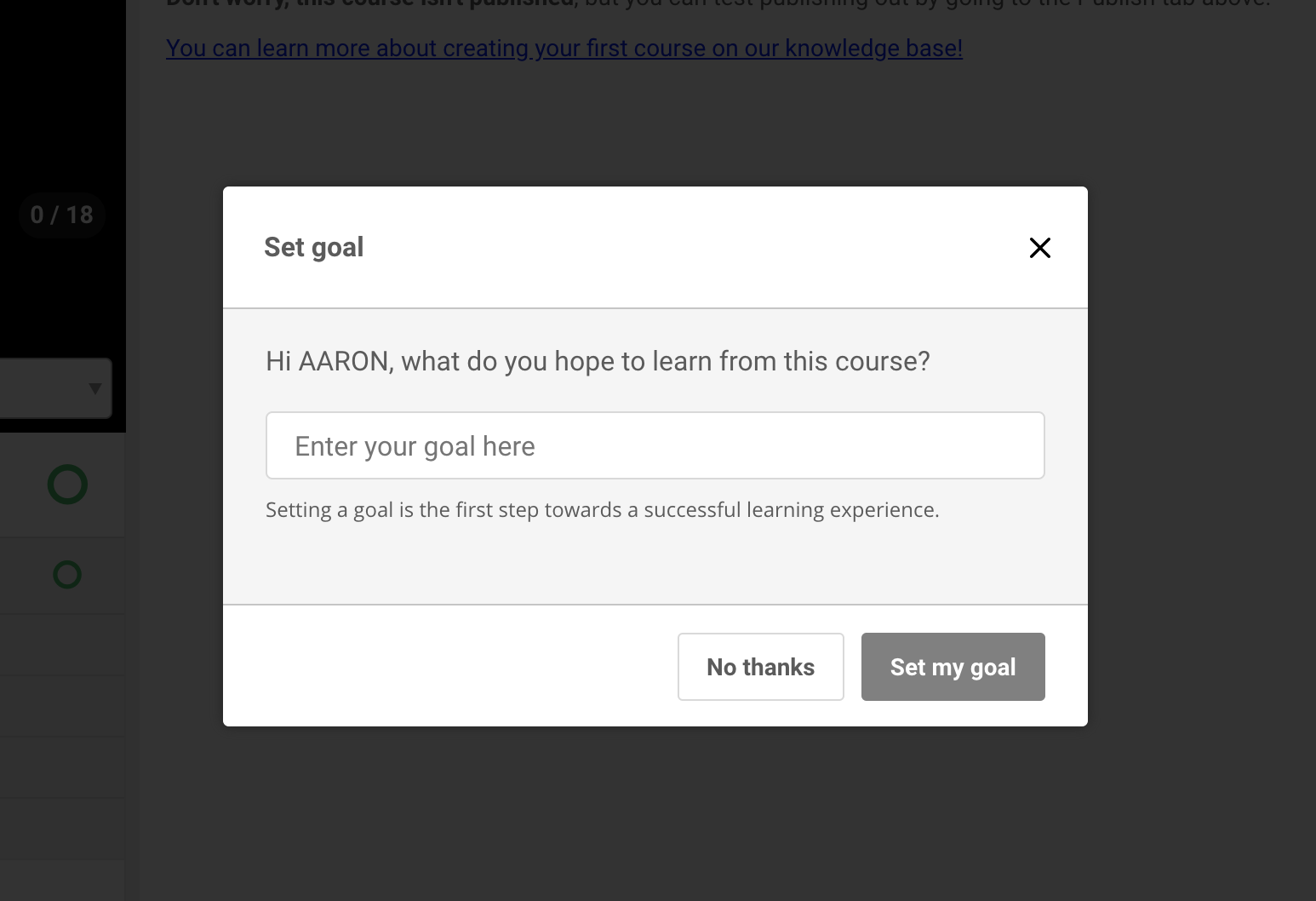 Students input goals in your online course
