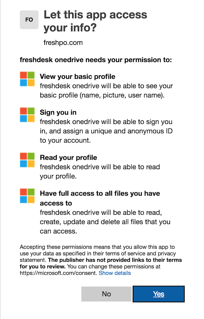 The OneDrive app : Freshdesk