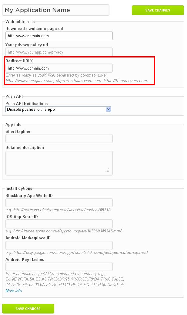 Foursquare Create App