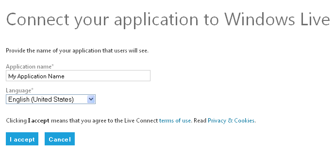 Windows Live Create Application