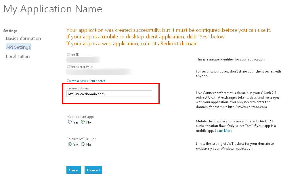 Windows Live Application Detail