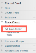 in the course control panel, select grade center and then select full grade center