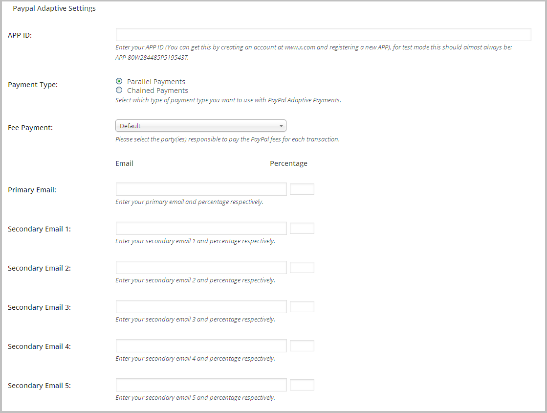 Paypal Adaptive Settings