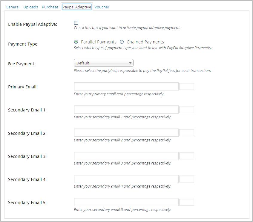 Paypal Adaptive Meta Box Settings