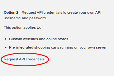 Request API credentials