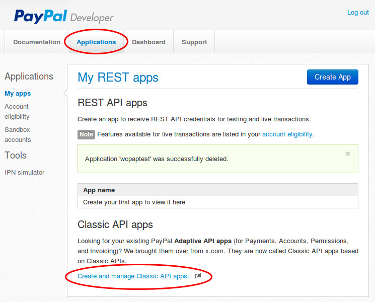 Paypal Developer Create Application