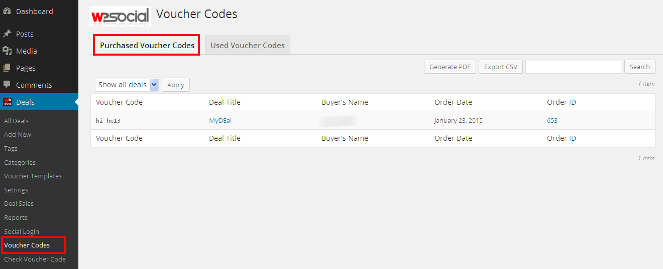 Purchased Voucher Codes