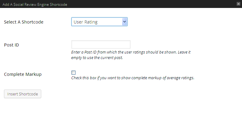 SDE Shortcode User Rating