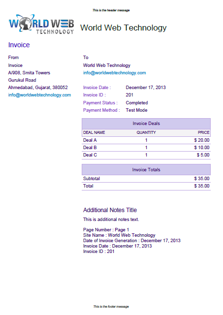Purple Pdf Invoice